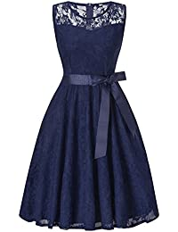 HENCY Damen Spitzen Rockabilly Kleid Festlich Partykleid Cocktailkleid Brautjungfern Kleid Rundhals/V Ausschnitt Ärmellos