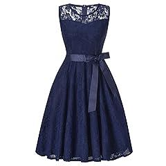 Idea Regalo - HENCY Vintage Vestito Mini Vestiti Donna Senza Maniche di Tulle Abito Eleganti Corti da Cermonia Pizzo Sera Blu
