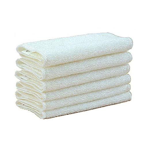 orbent Double Thickened Non-Stick Bamboo Fiber Delle Handtuch, Kein lettfreies Reinigungstuch, für Polieren, Waschen und Dusting White (Pack von 6),M ()