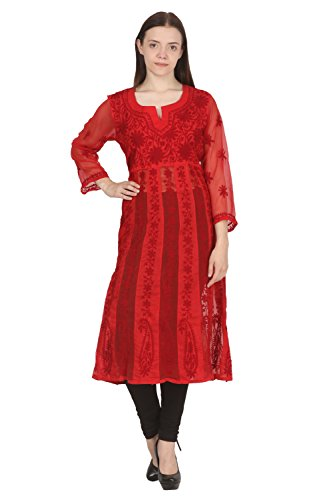 Saadgi Lucknowi ChikanKari Red Anarkali Frock Styled kurti with special Aari Chikan...
