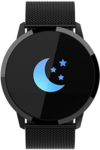 Findtime Unisex Digital Quarz Smartwatch Fitness Tracker Edelstahl Armband Herzfrequenz Bluetooth Blutdruck IP67 Wasserdicht Schwarz