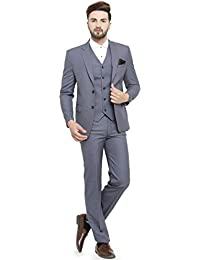 LUXURAZI Men's Grey Raymond Sapphire Terry Wool 3 Piece Suit