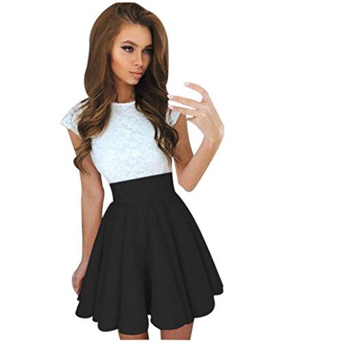 en Party Mini Kleid aus Spitze mit Kurzen Ärmeln Damen Kleider Sommer Rock (M, Schwarz) (Weißes Kleid Plus)