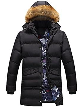 YuanDian Hombre Inverno Largo Acolchada Guateada Parkas Con Capucha De Pelo Sintética Collar Espesar Cálido Impermeable...