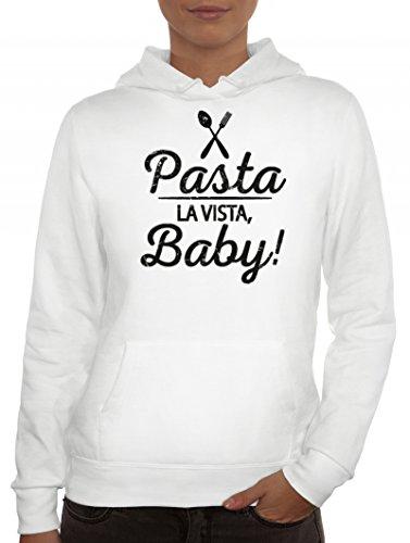 Kochen Koch Küchen Party Damen Hoodie Frauen Kapuzenpullover Pasta La Vista Baby, Größe: S,Weiß