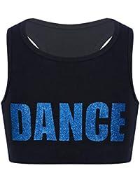 inhzoy Sujetador Deportivo para Niñas Chaleco Corto de Danza Ropa de Baile Moderno Estampado de Letra