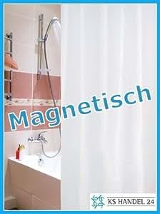 Rideau de douche textile avec anneaux et ourlet aimanté Blanc 180 x 180cm