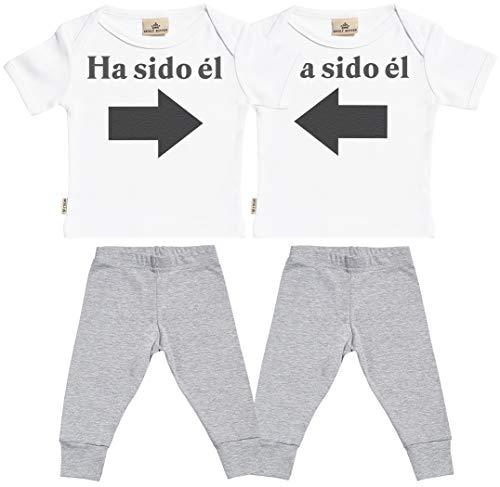SR - Ha Sido él & Ha Sido él - Conjunto Gemelo - Regalo para bebé - Blanco Camiseta para bebés & Gris Pantalones para bebé - Ropa Conjuntos para bebé - 0-6 Meses