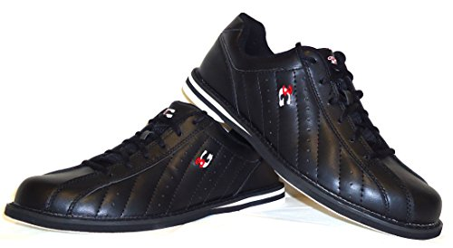 Bowling-Schuhe, 3G Kicks, Damen und Herren, für Rechts- und Linkshänder in 7 Farben Schuhgröße 36-48 (schwarz, 40 (US 7.5))