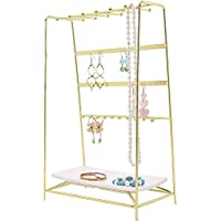 PLINRISE Jewelry Stand, 4 Tier Jewelry Organizer Holder, Decorative Jewelry Storage Hanger Display with Tray for Rings Bracelets Necklaces Earrings,Gold