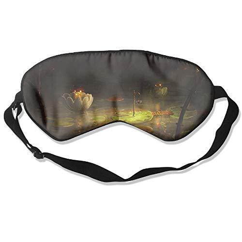 Preisvergleich Produktbild 100% Silk Sleep Mask Eye Mask Lily Bridge Flowers Soft Eyeshade Blindfold with Adjustable Strap for Sleeping Travel Work Naps Blocks Light