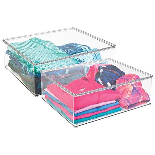 mDesign Juego de dos cajas para guardar ropa – Contenedores de plástico...