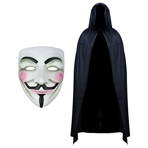 V for Vendetta Maske & Kapuzen Samt Umhang Modisches Kostüm-Set (V For Vendetta Kostüm)