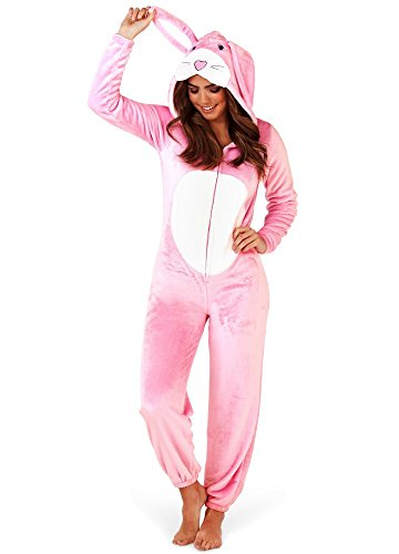 Loungeable Damen Jumpsuit Overall Tiere Gesichter Öhrchen 3D Kapuze Pink Rabbit 79727 L
