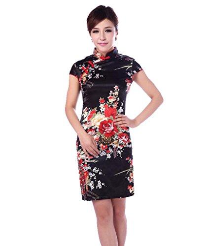 JTC Damen Etuikleid Erlesenes Chinesisch Seide Asiatische Chinesischen Knöpfen (34—TagM)