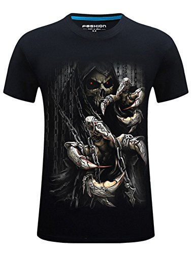 Angcoco Herren Kurzarm Professionelle 3D Digital Print Slim Fit-T-Shirts Black