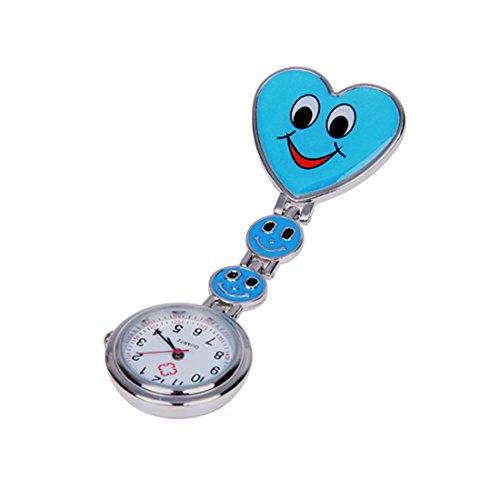 TOOGOO(R)Orologio faccia sorridente Cuore blu Movimento al quarzo dell'infermiera spilla fermaglio della tunica di Fob