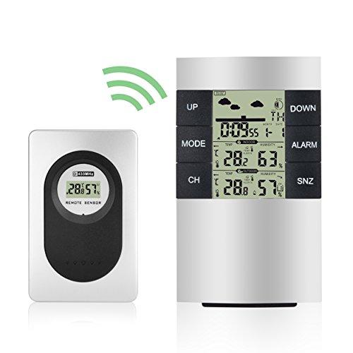 Funkwetterstation, Elinker Digitales Thermo-Hygrometer Wasserdicht Innen-Außen-Thermometer Feuchtigkeit- Temperaturanzeige mit Wettervorhersage, Wecker, Kalender u.s.w