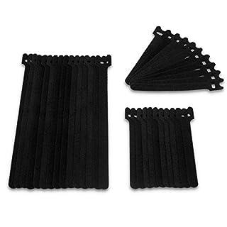 KEEPSORT® Kabelbinder-Klettverschluss - 35er Set Extra Stark und Wiederverschließbare Klett-Band Kabelbinder - Profi Qualität (Schwarz)