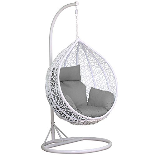 Yaheetech White Rattan Hanging Swing ChairStand+Cushion+Cover150kg Capacity  sc 1 st  Rattan Garden Furniture SHOP UK Garden & Yaheetech White Rattan Hanging Swing ChairStand+Cushion+Cover150kg ...