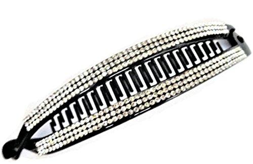Sparkly 16cm lang Kristall Nieten Banana Clip Haar Haarklammer in schwarz Kunststoff