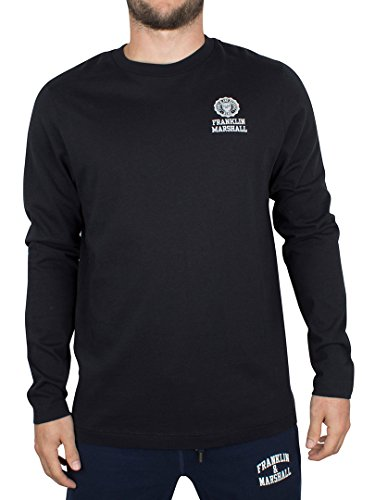franklin-marshall-uomo-maniche-lunghe-petto-logo-t-shirt-nero-medium