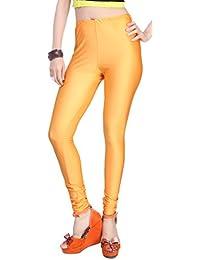 Comix Women Cotton Lycra Fabric Comfort Fit Ankle Length Plain Leggings (Gold,XXL)