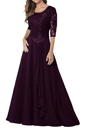Prom Style Praegnant Chiffon Rundkragen Abendkleider Promkleider Ballkleider lang A-linie Festkleider Damenmode mit 3/4 Arm Trauben
