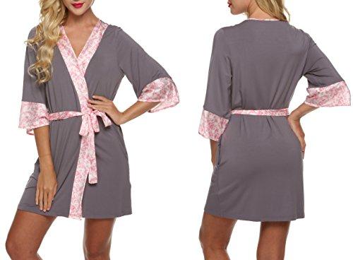 ADOME Damen Bademantel Kimono Robe Negligee Kurze Nachtwäsche Saunamantel Nightwear Druck mit Taschen Morgenmantel Grau und Rosa (Kimono Erwachsenen Satin Robe)