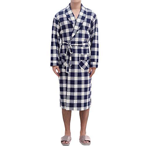 JEAREY Herren Bademantel mit Kapuze, Frottee, Baumwolle, Kimono, Spa-Bademantel, einfarbig, mit Taschen - - Large/X-Large - X-large-tasche