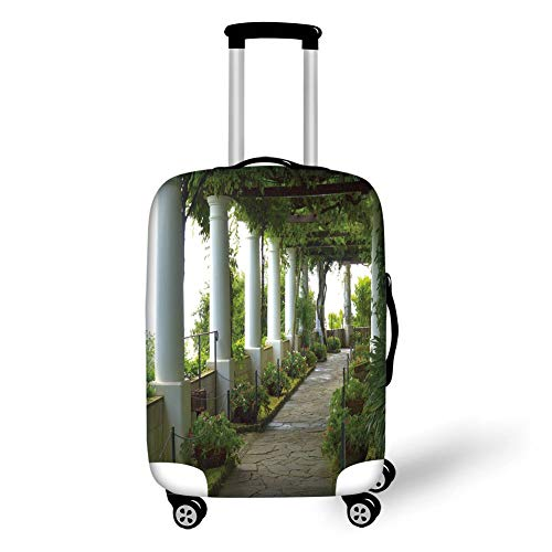 Travel Luggage Cover Suitcase Protector,Italian Decor,Terrace with The Seascape on Island of Capri Italy Flowers Swirls,Forest Green and White,for Travel Fox Girls Capris