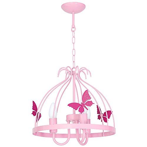 9795 lampadario in acciaio da soffitto per cameretta bambini, plafoniera gabbia3 farfalla, rosa.