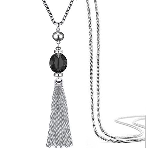 er Kette Anhänger Halskette transparenter Kristall Bohème-Stil für Frauen (Schwarz) ()