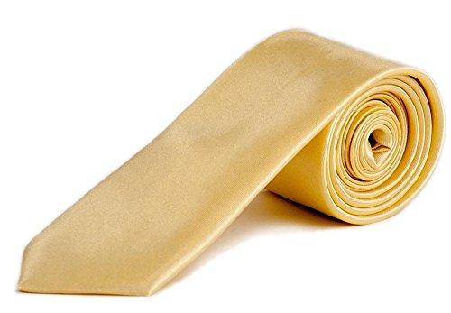 PF-Clothing Premium Krawatte mit Gratis Einstecktuch - Slim Tie Business Hochzeit Party Anzug Schlips (Champagner)