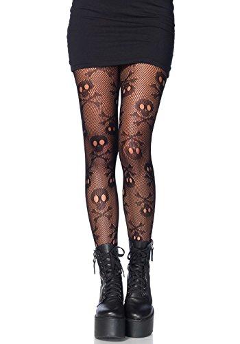 LEG AVENUE 9986 - Pirate skull net pantyhose, Einheitsgröße (Schwarz) (Womens Pirate Kostüm)