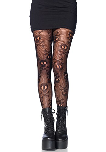 LEG AVENUE 9986 - Pirate skull net pantyhose, Einheitsgröße (Schwarz) (Pirat Lady Adult Womens Kostüm)