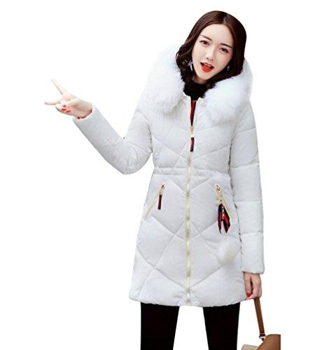 WanYang Cappotto Con Cappuccio Femminile Giù Giacca Grande Colletto Di Pelliccia Lungo Giù Giacca Bianco