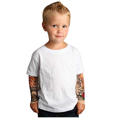 Baby T-Shirt Longsleeve Toddler Kids Boys T-Shirt with Mesh Tattoo Printed Sleeve Tee Tops Shirt Langarm Jungen Langarmshirt -