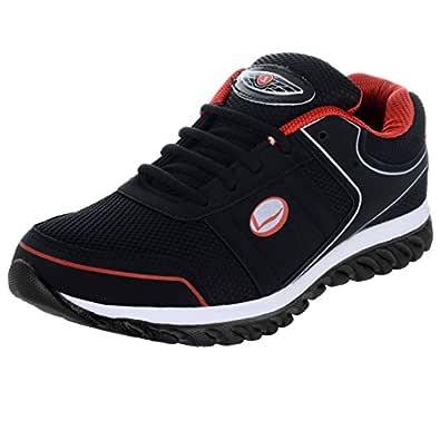 Lancer Men's Mesh Black & Red Sports Shoes - 6