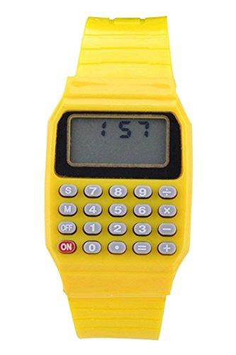 Armbanduhr - SODIAL(R) Jungen Maedchen Silikon Datumsanzeige elektronische Uhr Multifunktions Rechner Uhr Taschenrechner Uhr fuer Kinder Gelb