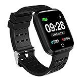 Azorex SmartWatch Multifunción Reloj Inteligente Cuadrado Deportivo Impermeable IP67, Pulsera Actividad Control Remoto para iPhone Xiaomi, Huawei Samsung Correa Silicona Negro