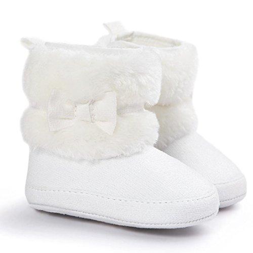 Ouneed® Krabbelschuhe , 0-18 Monate Baby Schneestiefel Bowknot halten warme weiche Sohle weiche Krippe Schuhe Kleinkind Stiefel Weiß