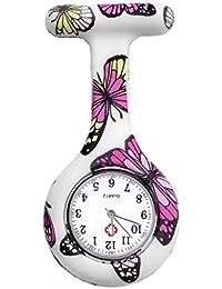 JSDDE Women's Fashion Nurse Clip-on Fob Brooch Silicone Hanging Pocket Watch, Butterfly