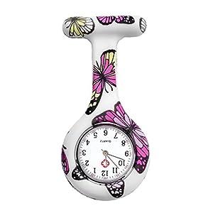 JSDDE Clip Uhr Silikon Krankenschwesteruhr Schwesternuhr Pflegeruhr Kitteluhr Hängeuhr Taschenuhr Artzuhr Tunika Brosche,Schmetterling Muster