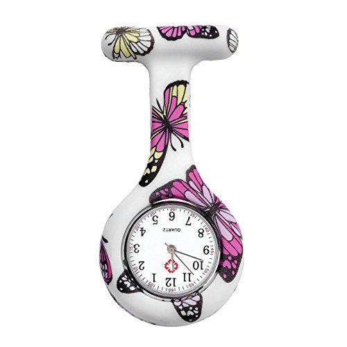JSDDE Uhren Schwesternuhren Krankenschwesteruhr FOB-Uhr Silikon Hülle Pulsuhr Pflegeuhr Tunika Brosche Taschenuhr Ansteckuhr Analog Quarzuhr (Lila Schmetterling)