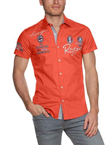 Orange-weiß Gestreiftes Hemd (Redbridge Herren Freizeithemd R-2122 Slim-Fit, Orange (Coral), Large)