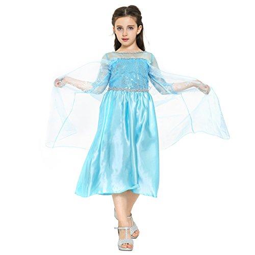Imagen de katara  disfraz de la princesa elsa, vestido de la reina del hielo azul con copos de nieve en el tren  para niñas de 8 9 años