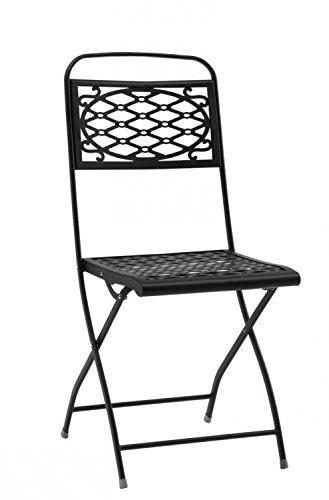 Ideapiu 4Sessel Klappstuhl ohne Armlehnen, Sessel aus Eisen anthrazit, Stuhl von außen Romantik,...