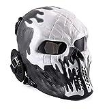 KINGEE® Oído Protector Para El Cráneo De Cara Completa, Fuego De Diablo, Máscara De...