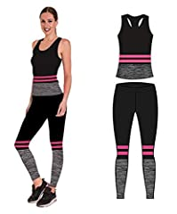 Idea Regalo - Bonjour - Abbigliamento sportivo da donna/canotta e leggings (set da 2 pezzi, top e leggings), set da palestra o per yoga, elasticizzato, Pink Stripe Vest Top, One Size ( UK 8 - 14 )